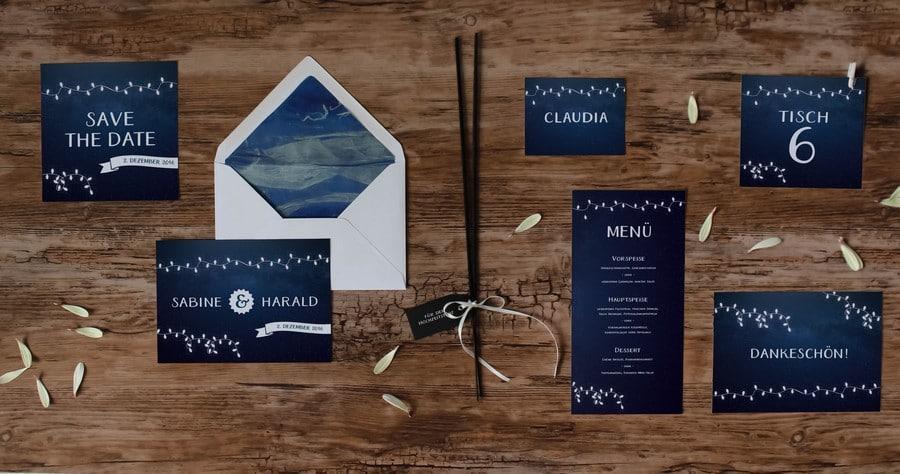 Papeterieset für eure Hochzeit im Boho-Stil in Schwarz-Weiß mit Lichterketten