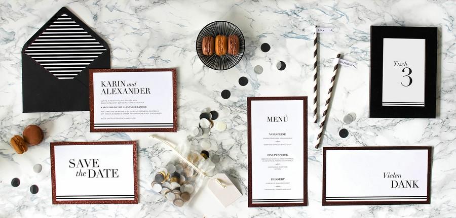 Papeterieset für eure Hochzeit im Boho- oder 20er-jahre-Stil in Schwarz-Weiß