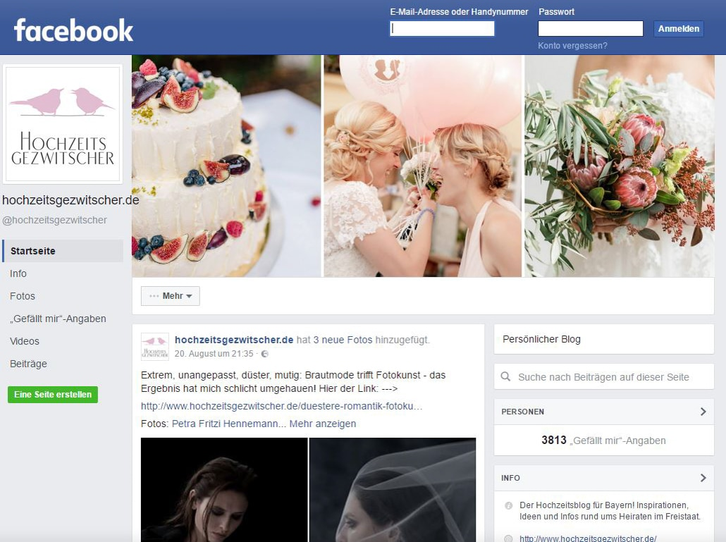 Facebook-Seite von Hochzeitsgezwitscher