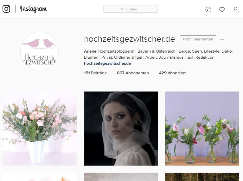 Instagram Feed von Hochzeitsgezwitscher