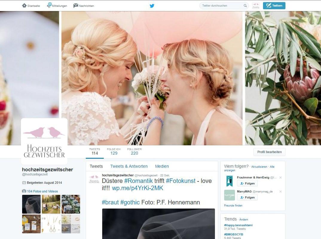 Twitter-Seite von Hochzeitsgezwitscher