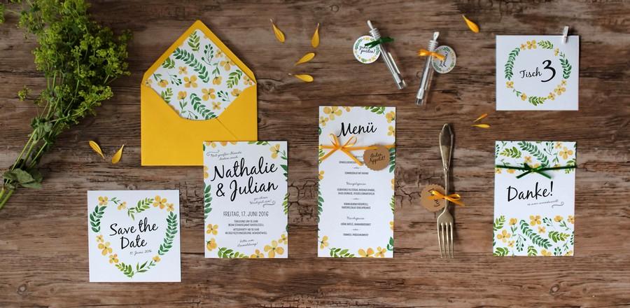 Papeterieset für eure Hochzeit im Boho-oder Vintage Stil im Wasserfarbendesign mit Pastellfarben in Gelb und Grün