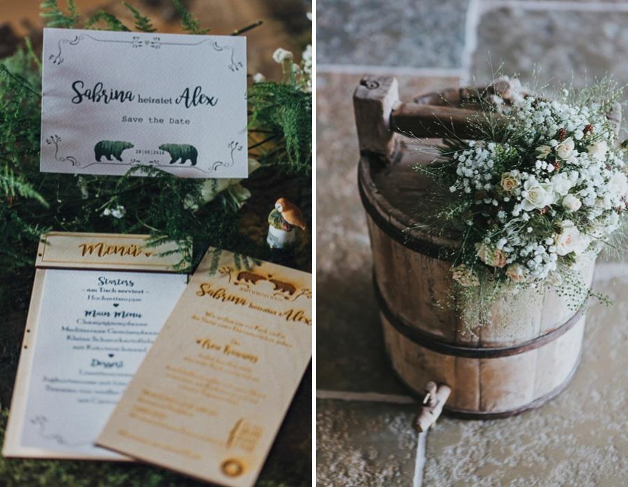 Ideen für eine Waldhochzeit mit viel Natur und Grün: Der Brautstrauß und die Einladung aus Holz