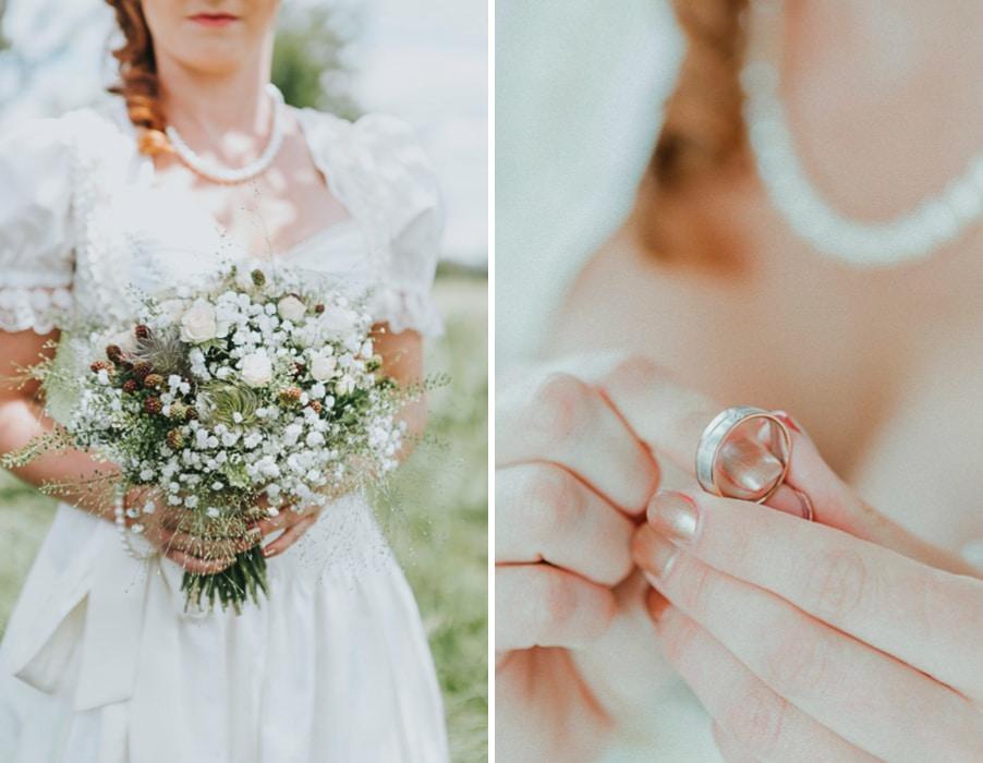 Ideen für eine Waldhochzeit mit viel Natur und Grün: Der Brautstrauß