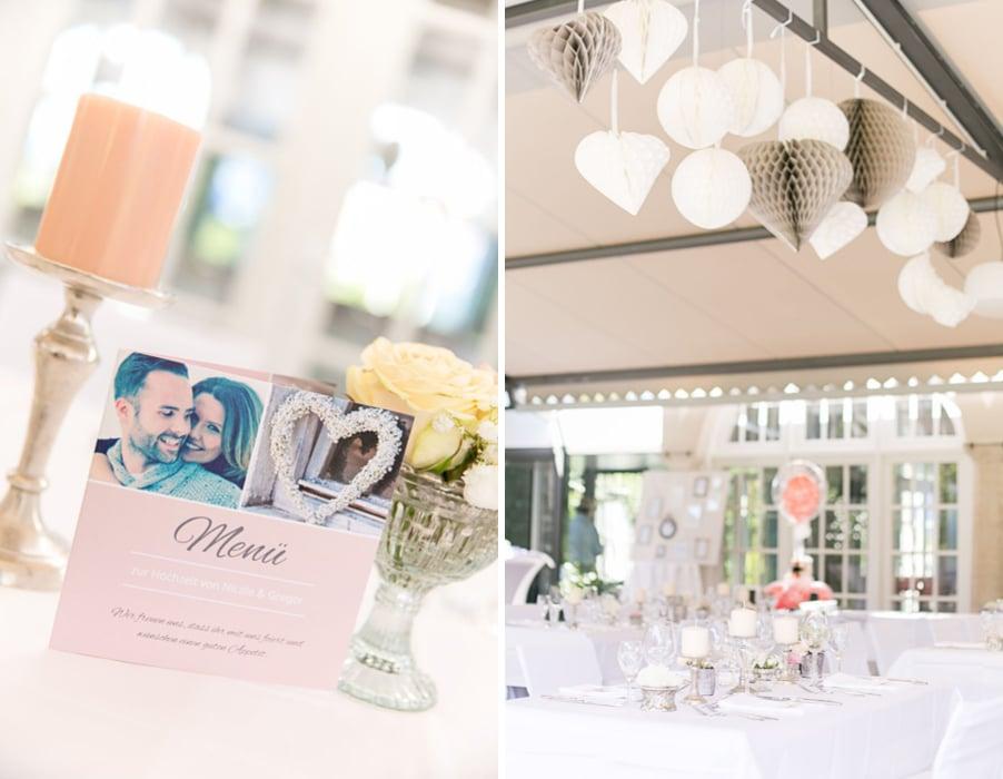 Hochzeit im Cafe im Botanischen Garten München im Vintage-Stil und Pastell-Deko
