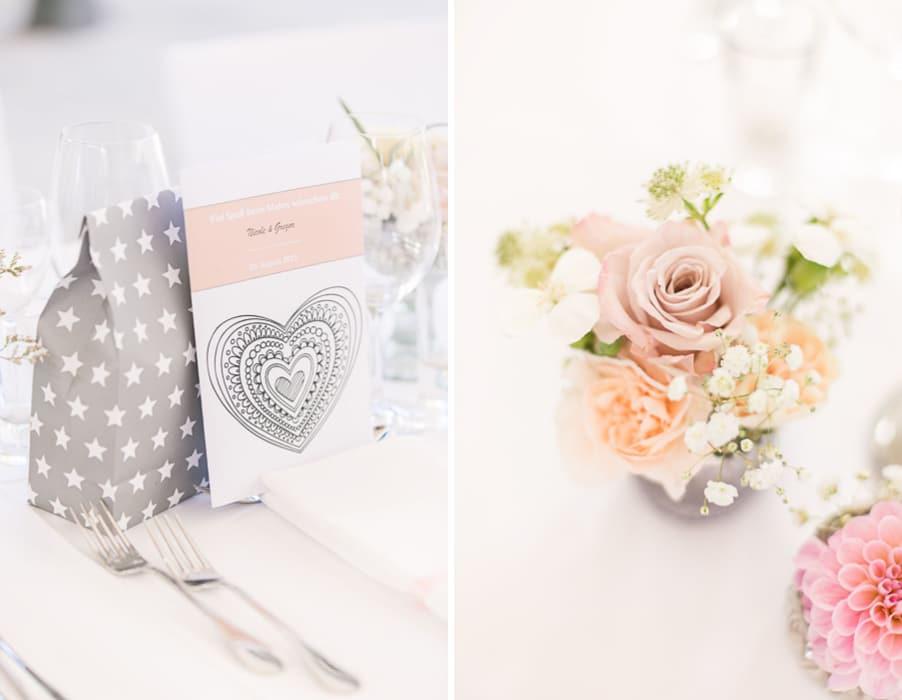 Hochzeit im botanischen garten m nchen von nadine apfel Rosa tischdeko hochzeit
