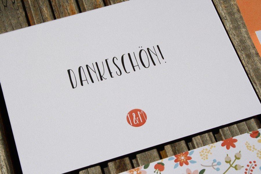 individuelle Dankeskarte für die Hochzeit in Orange und Rot von Herdruck aus Österreich