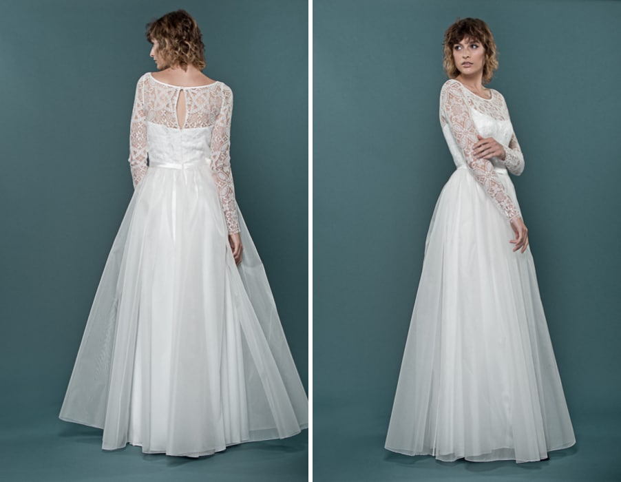 Brautkleid Heaven mit langen Armen und Spitze von therese und luise