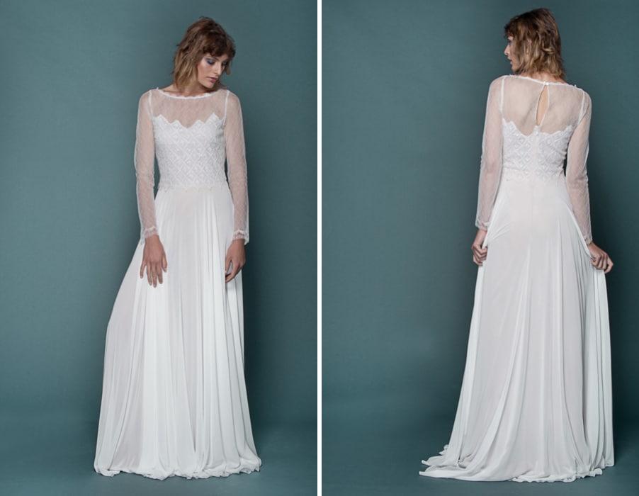 Brautkleid Irina mit langen Armen und grafischer Spitze von therese und luise