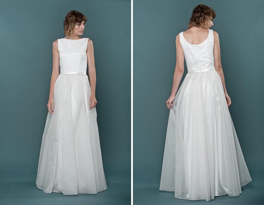 Brautkleid Hera aus Organza und französischer Spitze von therese und luise