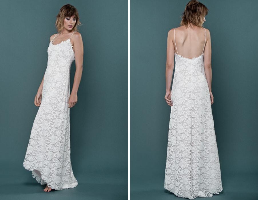 Brautkleid Ivonne mit Spagettiträgern aus floraler Spitze von therese und luise