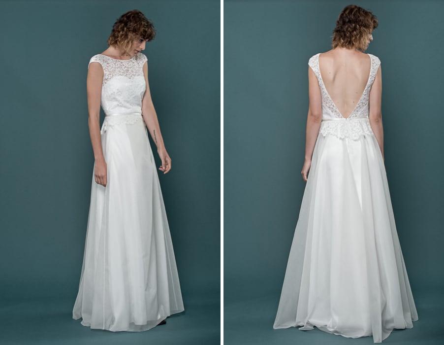 Brautkleid Helena mit tiefem Rückenausschnitt von therese und luise
