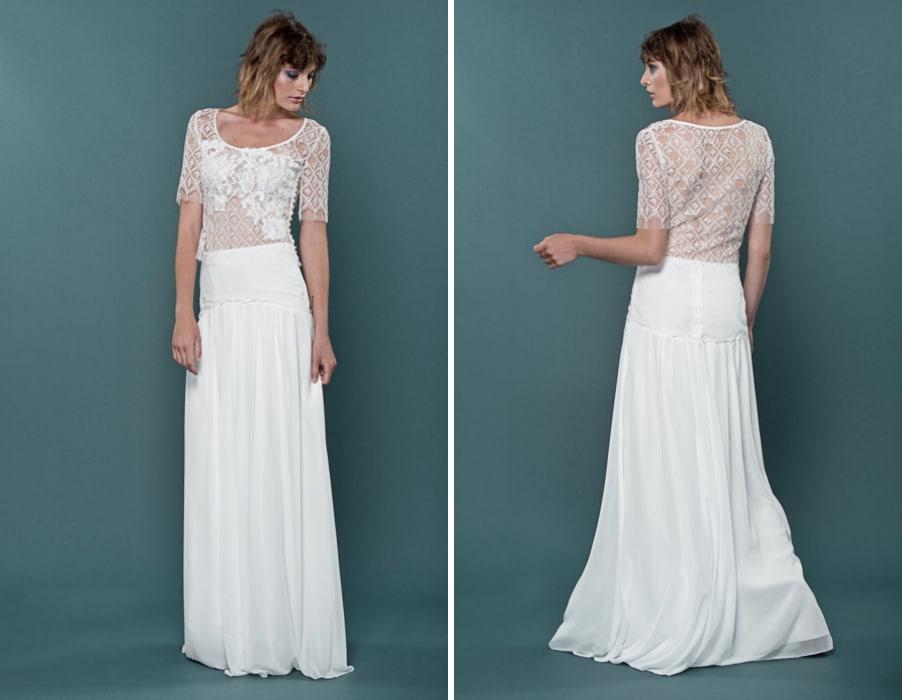 Brautkleid Idis mit kurzen Armen von therese und luise