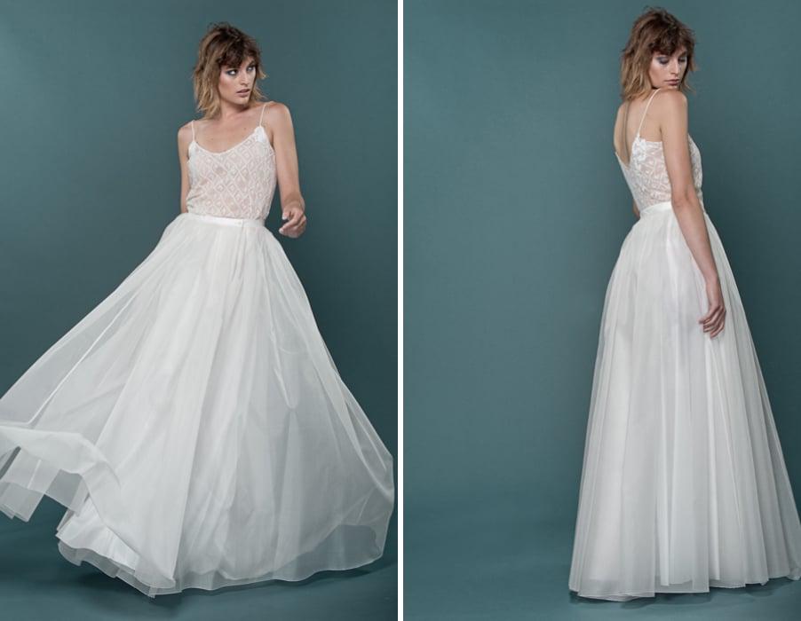 Brautkleid Luise aus Rock und Top kombiniert mit Spagettiträgern von therese und luise