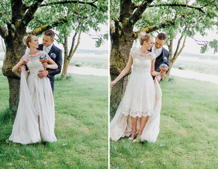 Brautkleid zwei in eins: Abnehmbarer Rock macht aus einem langen Brautkleid ein kurzes