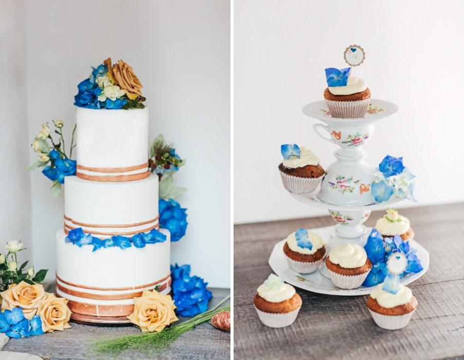Torte: Inspiration für eine herbstliche Hochzeit in den Farben Blau und Kupfer