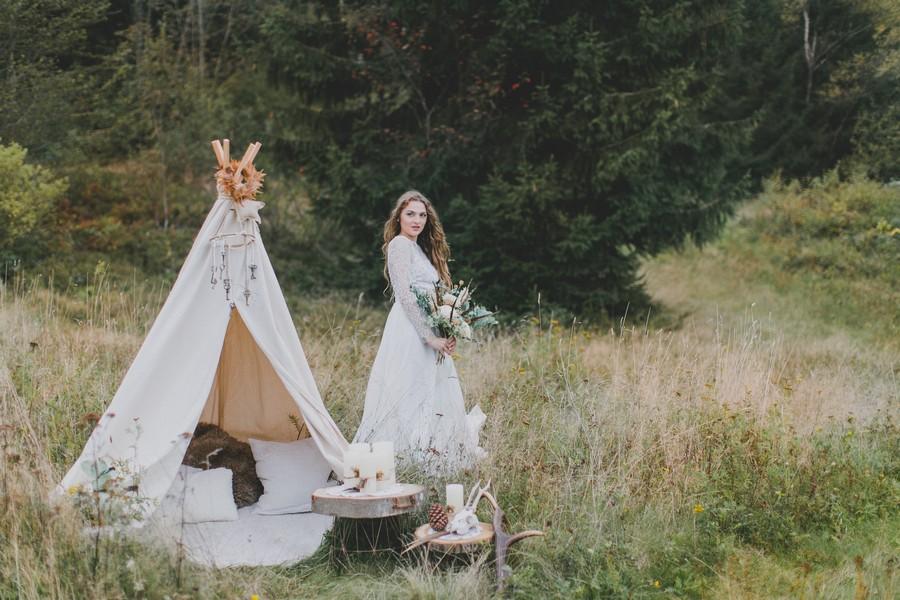 Inspirationen für die Hippie-Braut mit Tippi-Zelt