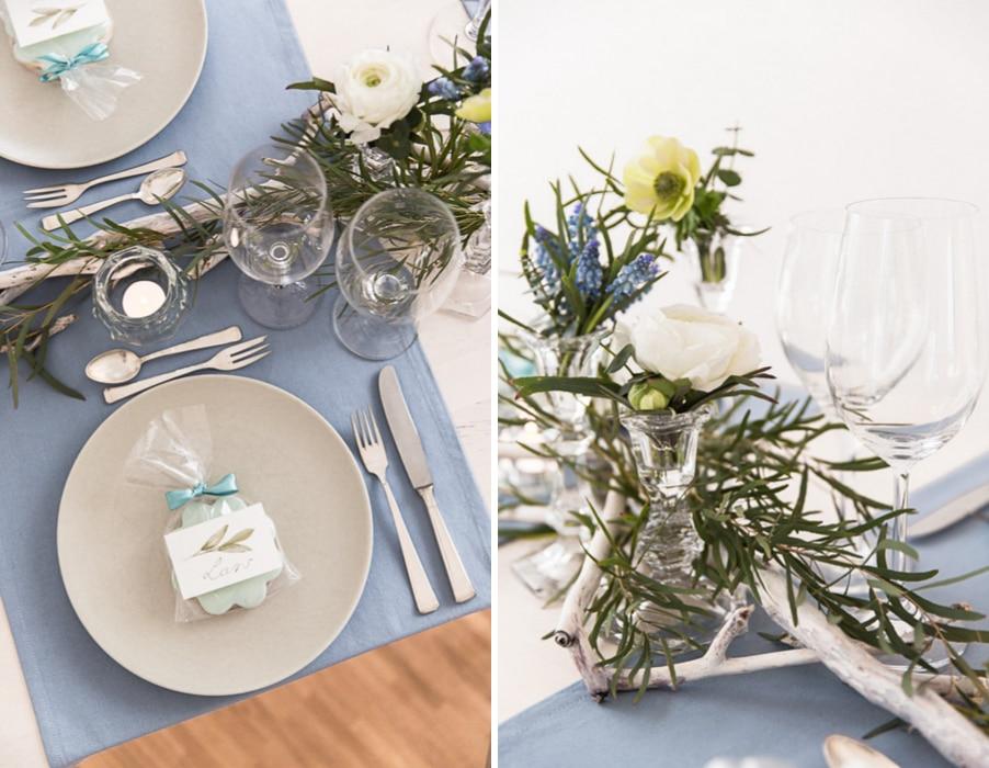 DIY-Tischdeko in Hellblau und Greenery