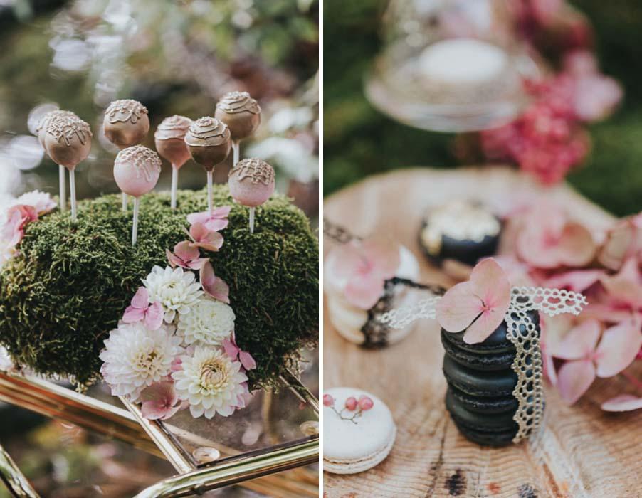inspiration-hochzeit-vintage-cake-pops-macarons-gold-rosa-pink