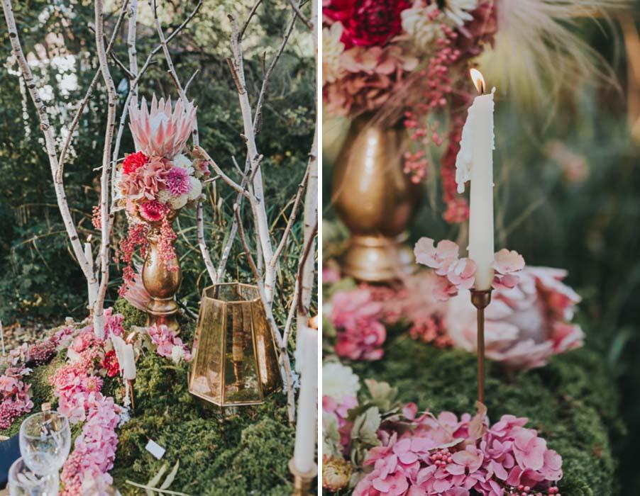 inspiration-hochzeit-vintage-natur-moos-pink-gruen-gold-protea-tischdeko