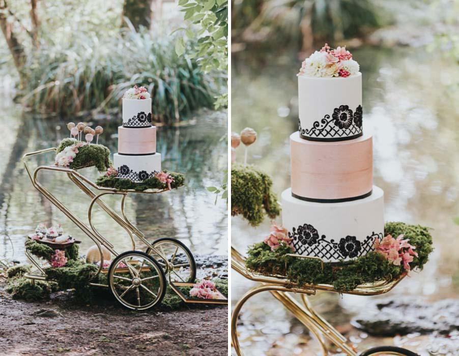 inspiration-vintage-natur-moos-rosa-gold-schwarz-weiß-hochzeits-torte
