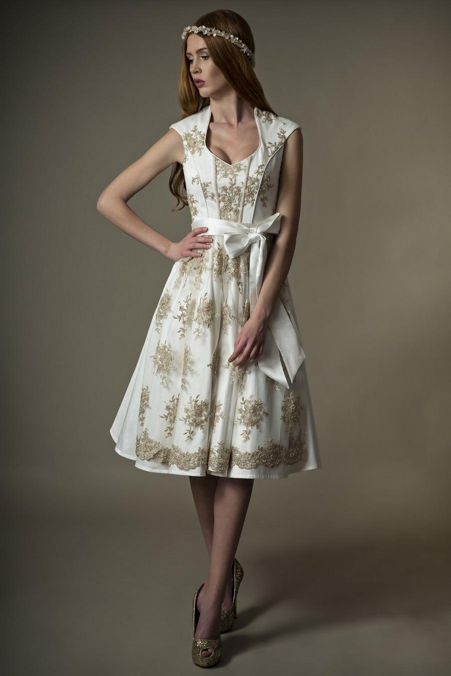 Exklusives Braut-Dirndl in Gold und Weiß im Vintage-Design