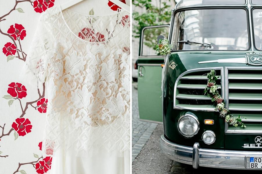 Romantisch-gemütliche Hochzeit mit Oldtimer-Reisebus in Wasserburg