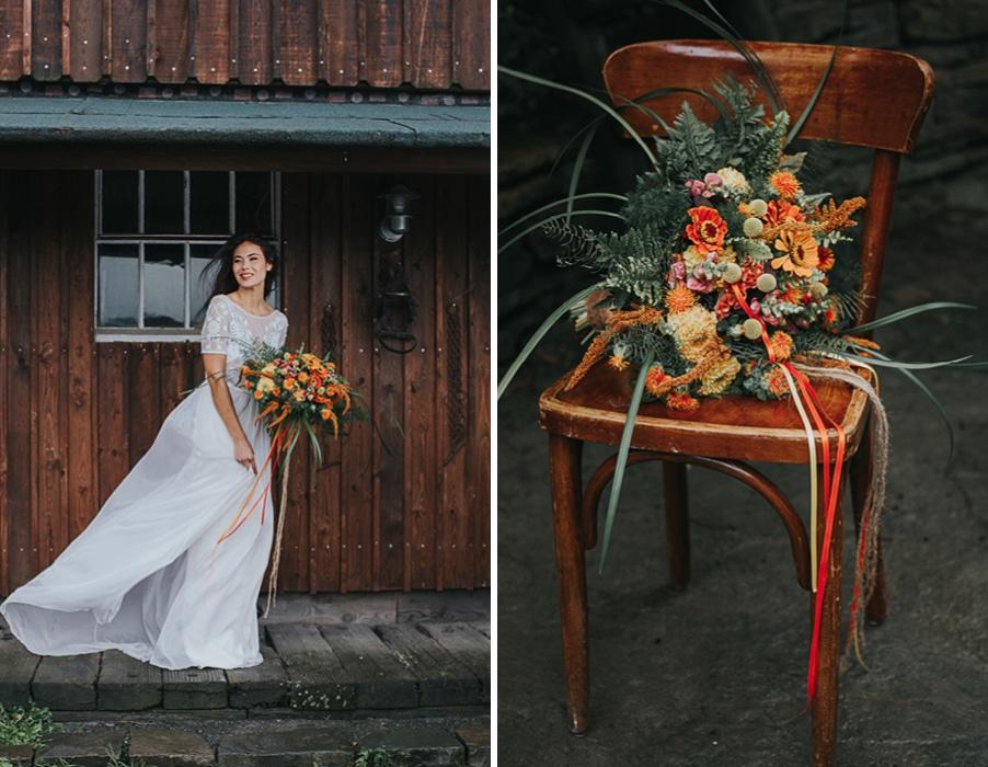 Inspiration für eine Hochzeit mit Farben und herbstlichen Kakteen und Farben in Gelb und Orange und Rot.