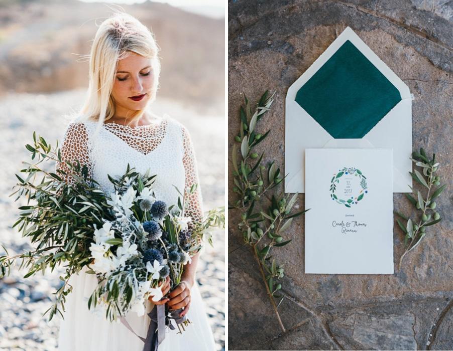 Styled Shoot zu einer Hochzeit in Blau und Petrol und mit mediterranen Pflanzen wie Olive