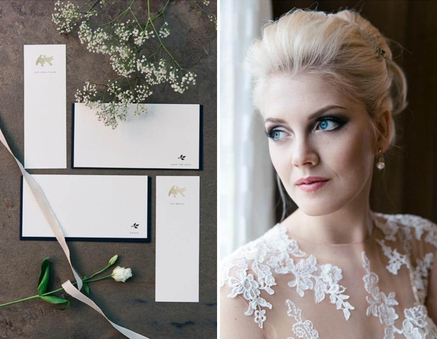 Papeterie für eine klassische Hochzeit in Weiß