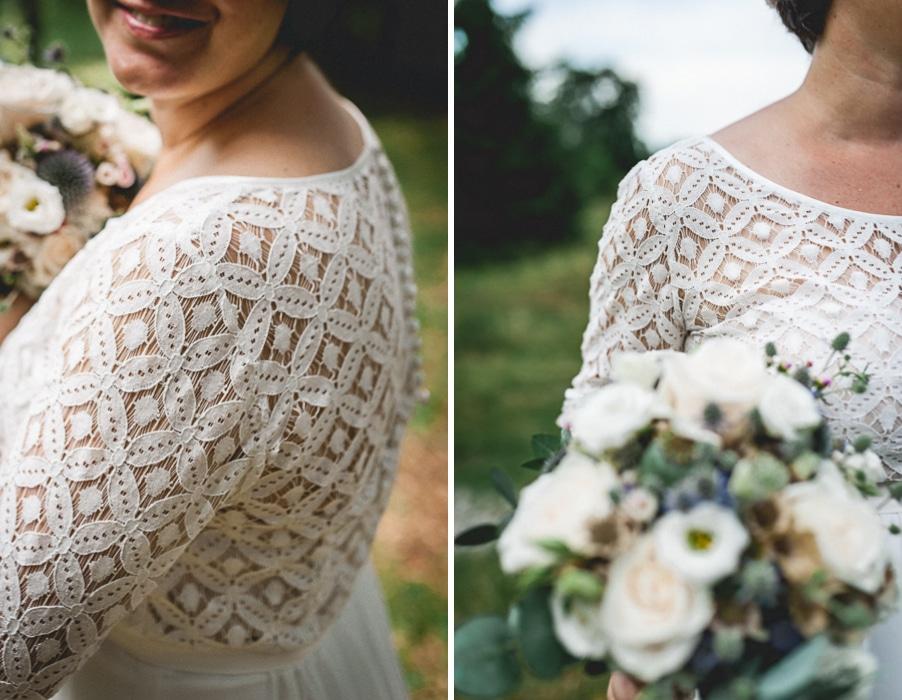 Brautkleid mit geometrischem Spitzenmuster