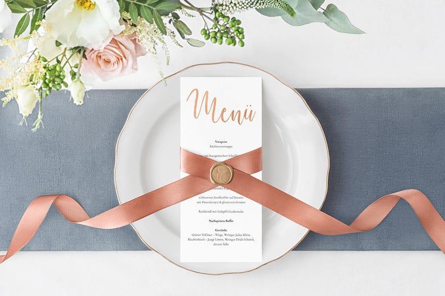 Kupfer-Hochzeitseinladungen und Dankeskarten von Denise Perrine Design Papeterie