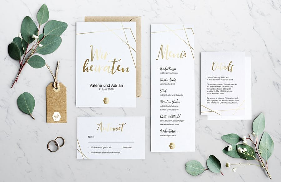 Gold-Hochzeitseinladungen und Dankeskarten von Denise Perrine Design Papeterie