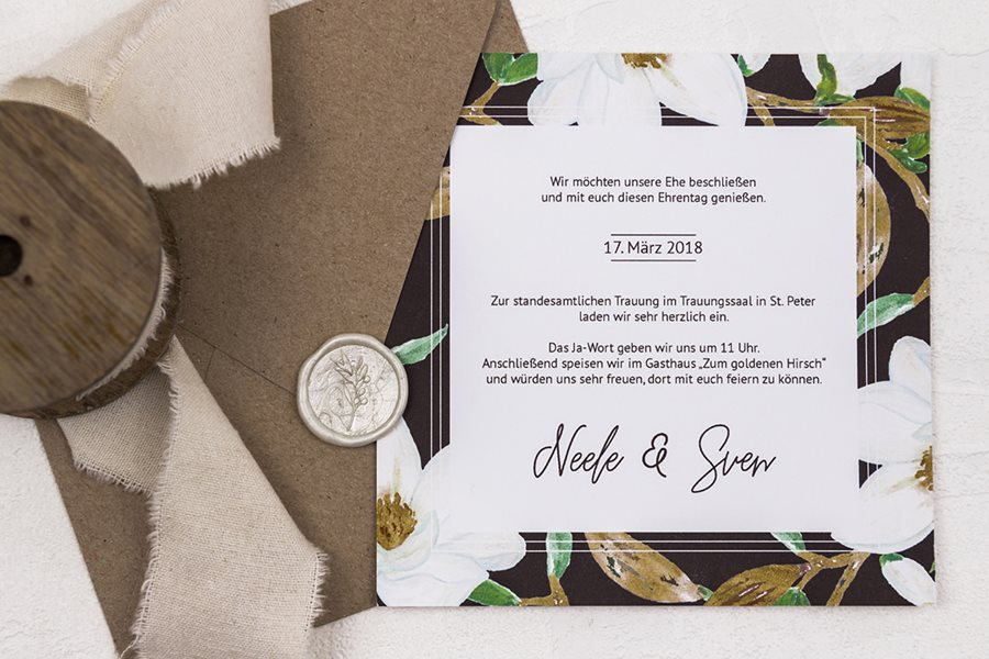 Elegante Hochzeitseinladungen und Dankeskarten von Denise Perrine Design Papeterie