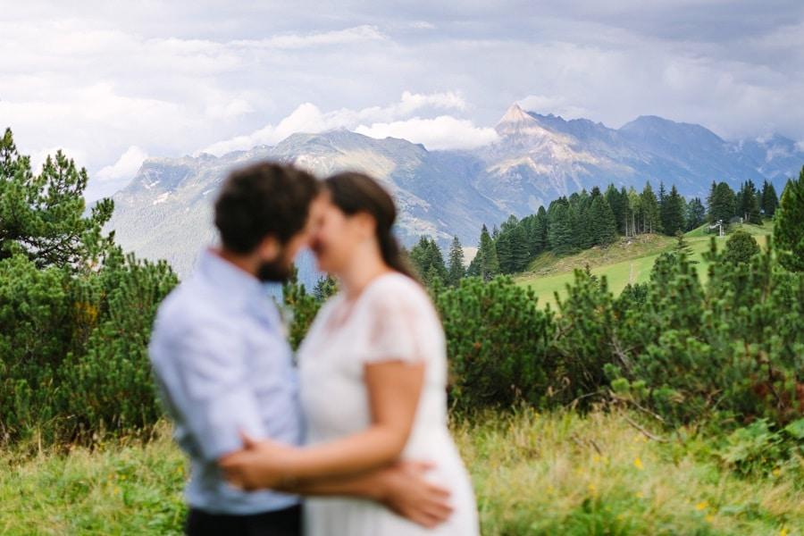 Paarshooting bei einer Berghochzeit