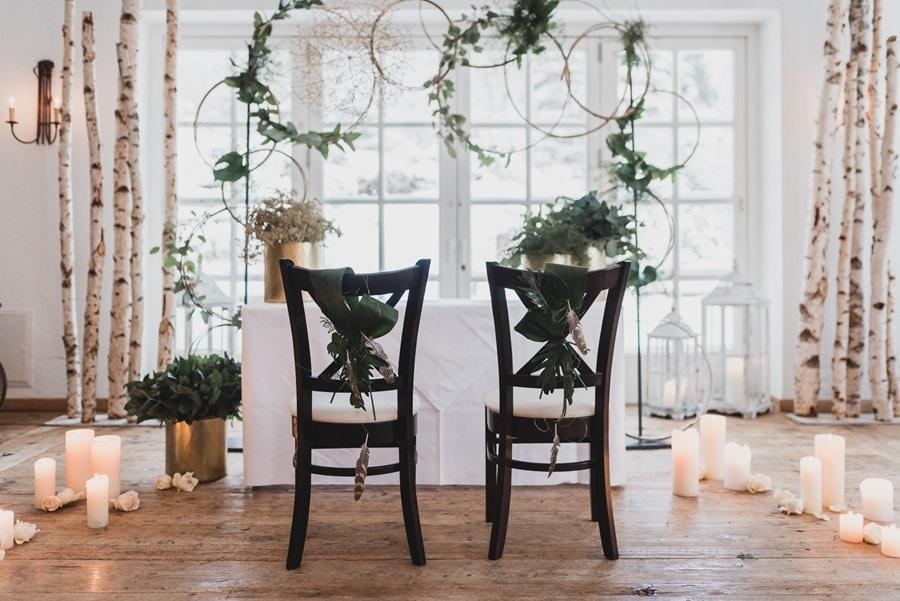 Ideen für eine elegante Boho-Hochzeit in Grün und Gold
