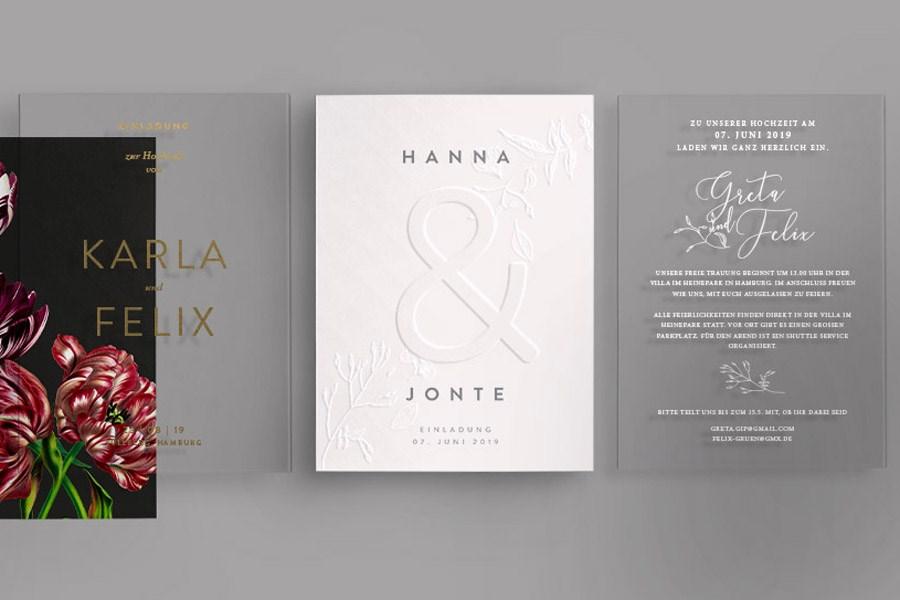 Moderne Hochzeitseinladungen auf Acryl und Papier